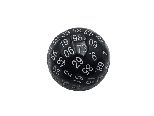 Single 100 Sided Polyhedral Dice (D100) | Solid Black Color with White Numbering (45mm)