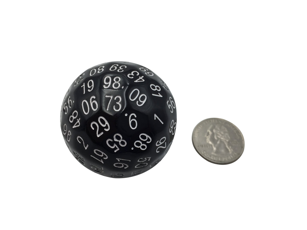 Polyhedral Dice - Single 100 Sided Polyhedral Dice (D100) | Solid Black Color With White Numbering (45mm)