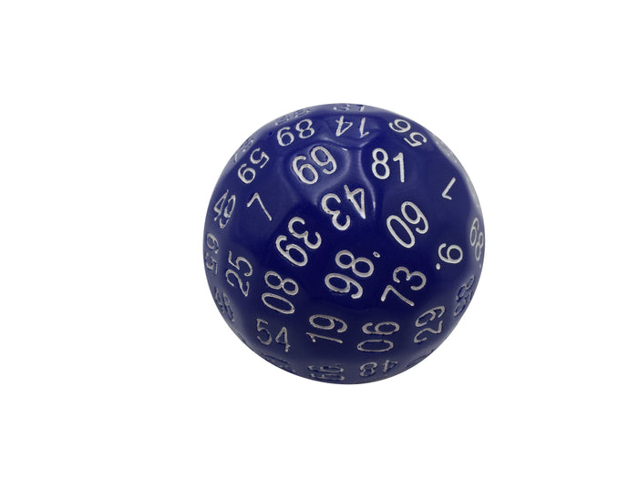 Polyhedral Dice - Single 100 Sided Polyhedral Dice (D100) | Solid Blue Color With White Numbering (45mm)