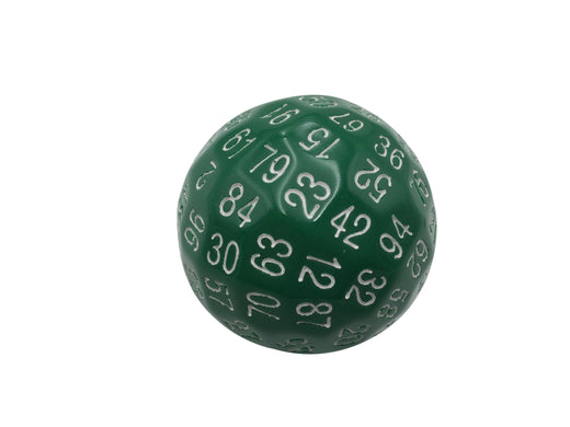 Single 100 Sided Polyhedral Dice (D100) | Solid Green Color with White Numbering (45mm)