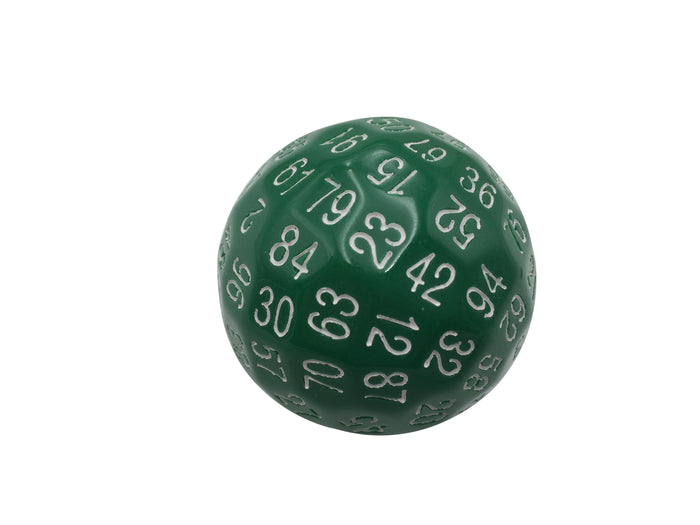 Polyhedral Dice - Single 100 Sided Polyhedral Dice (D100) | Solid Green Color With White Numbering (45mm)