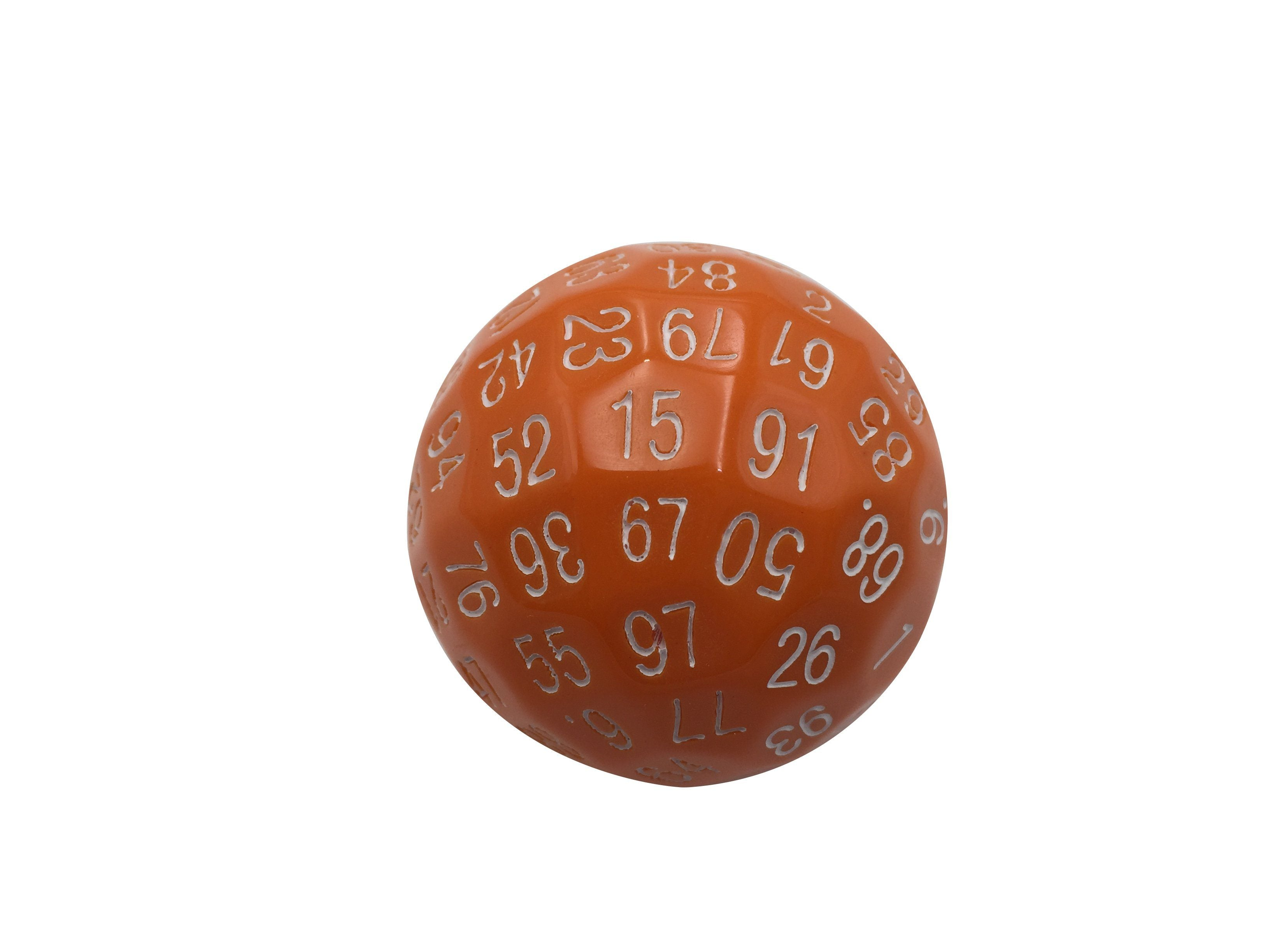 Single 100 Sided Polyhedral Dice (D100) | Solid Orange Color with White Numbering (45mm)