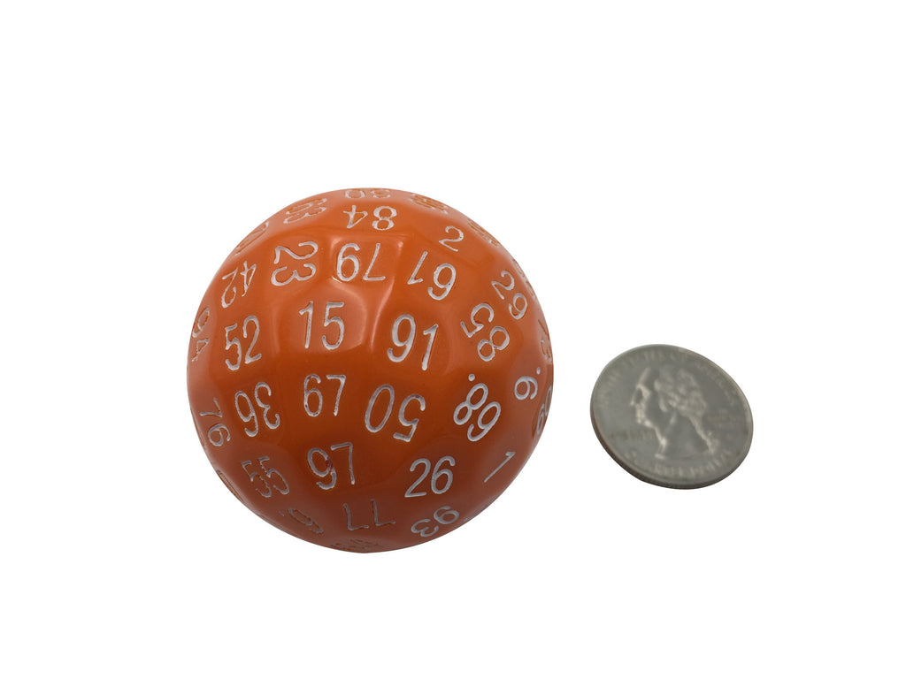 Polyhedral Dice - Single 100 Sided Polyhedral Dice (D100) | Solid Orange Color With White Numbering (45mm)
