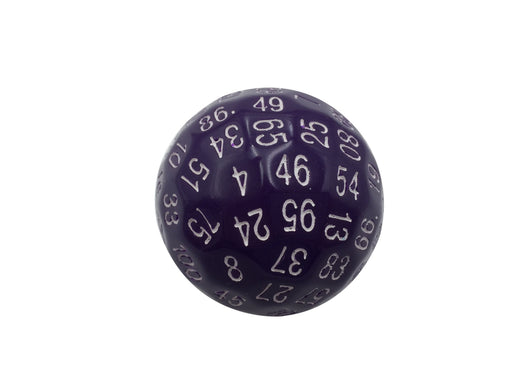 Single 100 Sided Polyhedral Dice (D100) | Solid Purple Color with White Numbering (45mm)