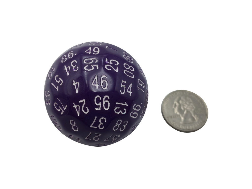 Polyhedral Dice - Single 100 Sided Polyhedral Dice (D100) | Solid Purple Color With White Numbering (45mm)