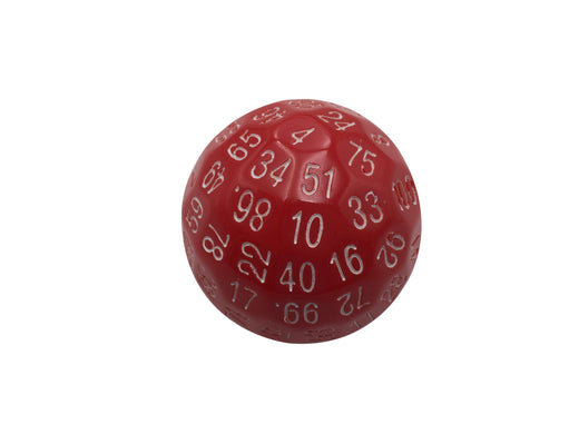Single 100 Sided Polyhedral Dice (D100) | Solid Red Color with White Numbering (45mm)