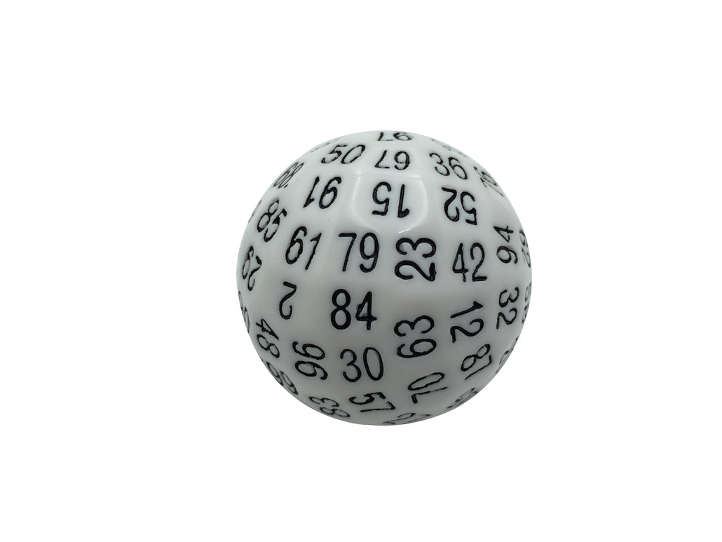 Single 100 Sided Polyhedral Dice (D100) | Solid White Color with Black Numbering (45mm)