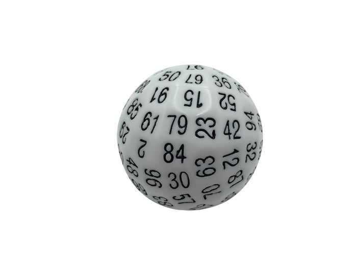 Polyhedral Dice - Single 100 Sided Polyhedral Dice (D100) | Solid White Color With Black Numbering (45mm)