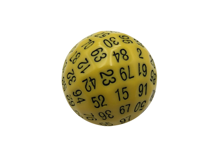 Polyhedral Dice - Single 100 Sided Polyhedral Dice (D100) | Solid Yellow Color With Black Numbering (45mm)