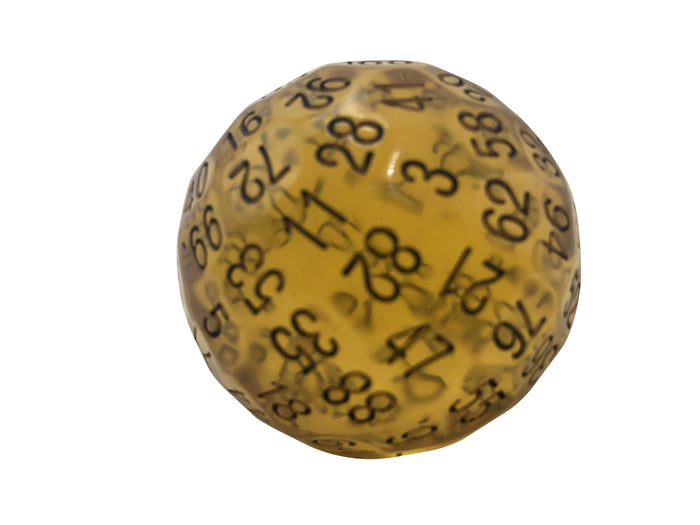 Polyhedral Dice - Single 100 Sided Polyhedral Dice (D100) | Translucent Amber Color With Black Numbering (45mm)
