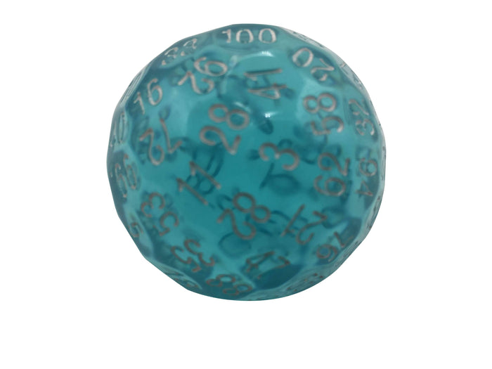 Polyhedral Dice - Single 100 Sided Polyhedral Dice (D100) | Translucent Blue Color With White Numbering (45mm)