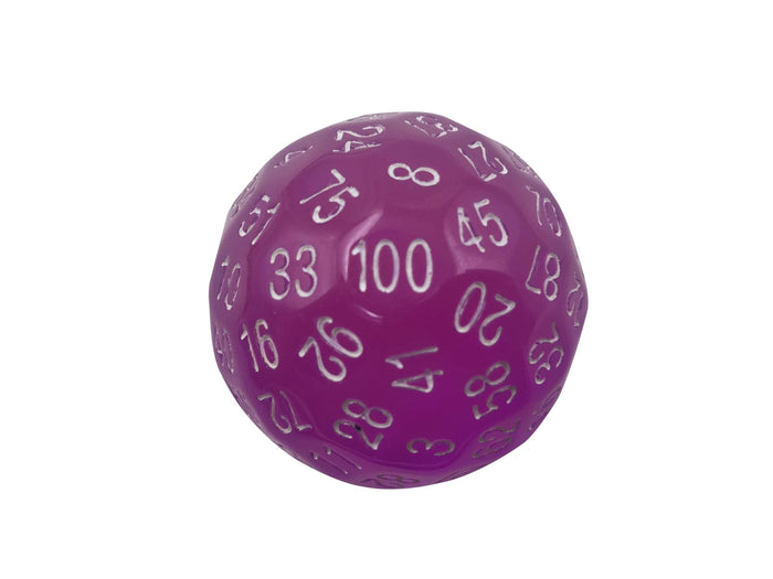 Polyhedral Dice - Single 100 Sided Polyhedral Dice (D100) | Translucent Pink Color With White Numbering (45mm)