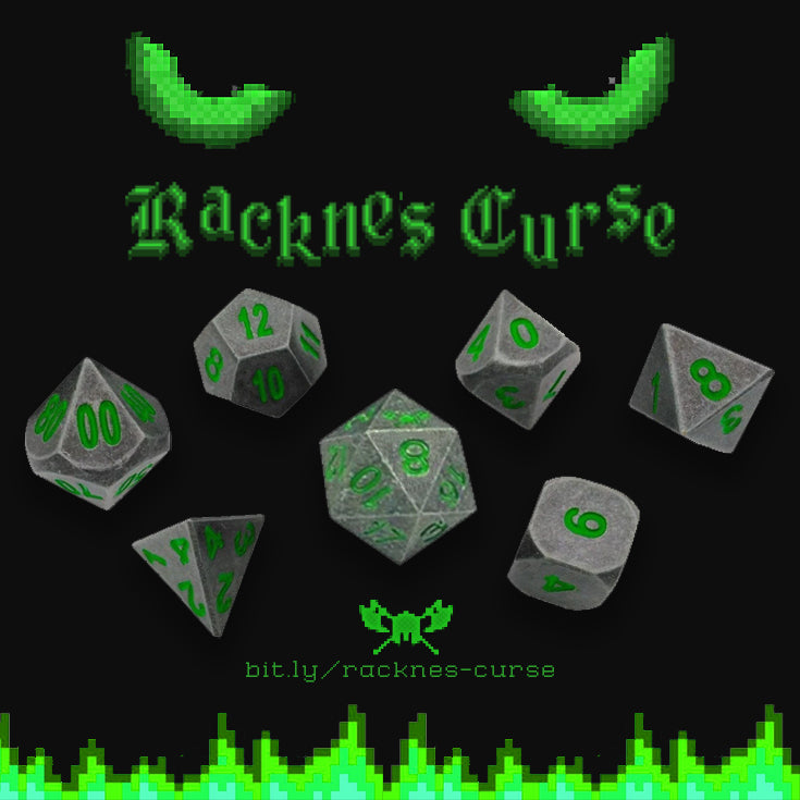 Rackne's Curse | Industrial Gray with Green Numbers Metal Dice (7 Die in Pack)
