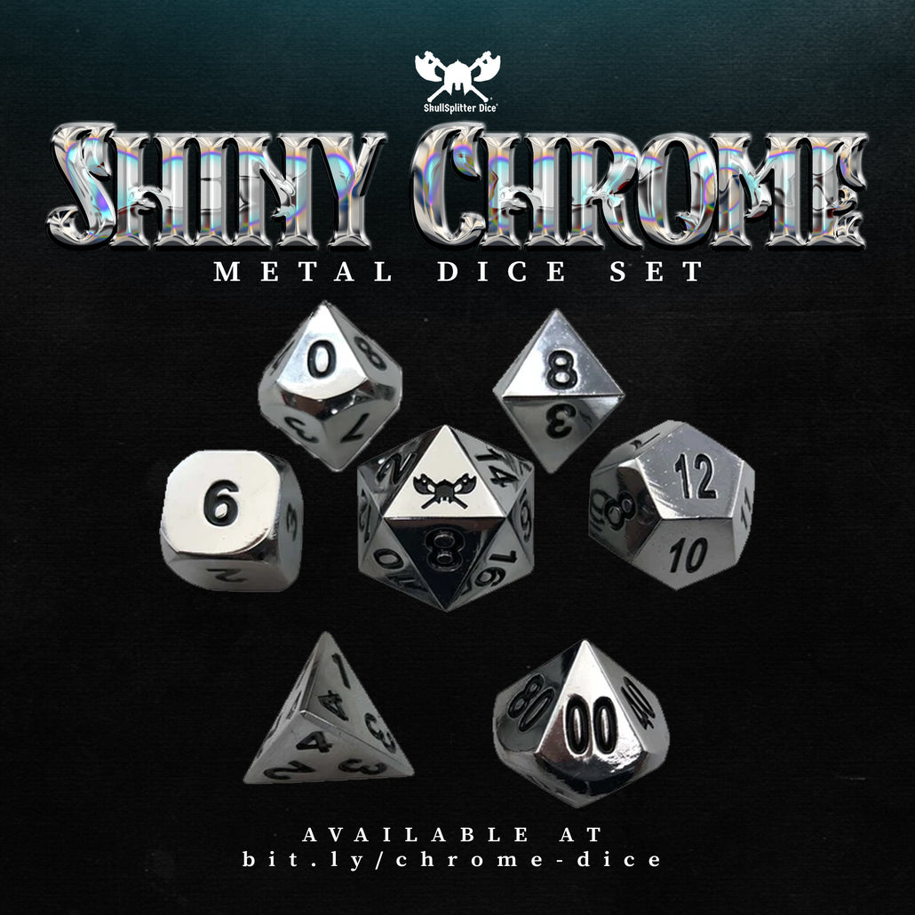 Shiny Chrome / Silver Color with Black Numbering Metal Dice (7 Die in Pack)