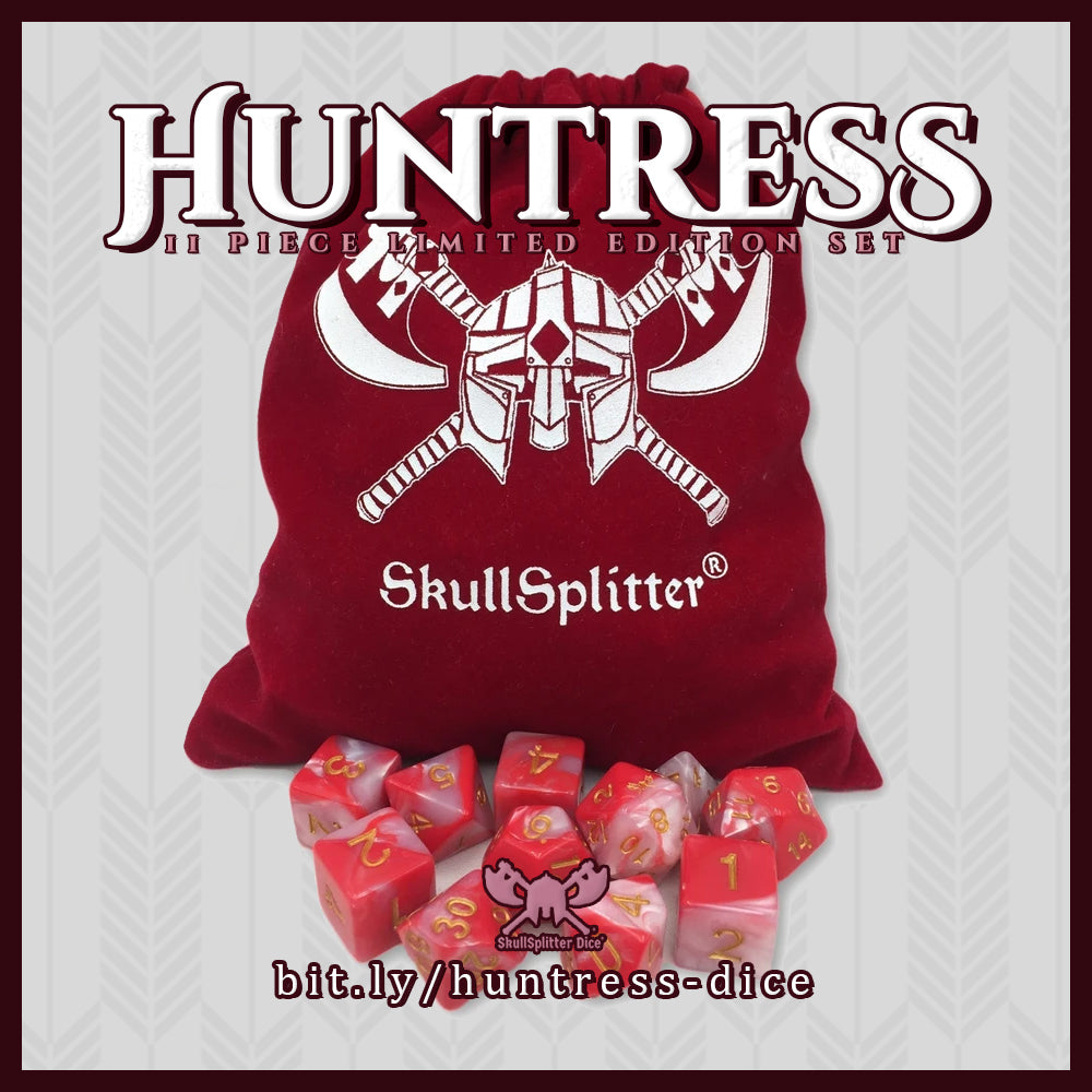 Huntress- Red and White Swirl Color with Gold Numbers - Limited Edition Set of 11 Polyhedral Role Playing Game Dice