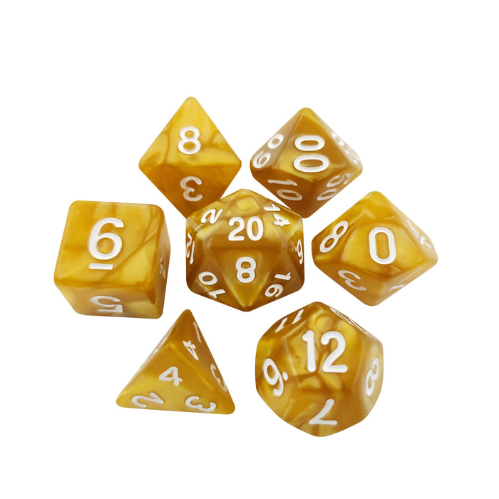 Yellow Marbled Set Of 7 Polyhedral RPG Dice For D&D
