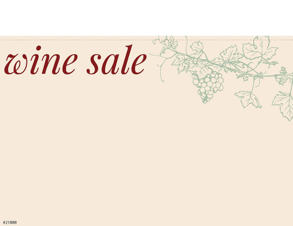 "Wine Sale Sign Card 11"" x 7"" - #21888"