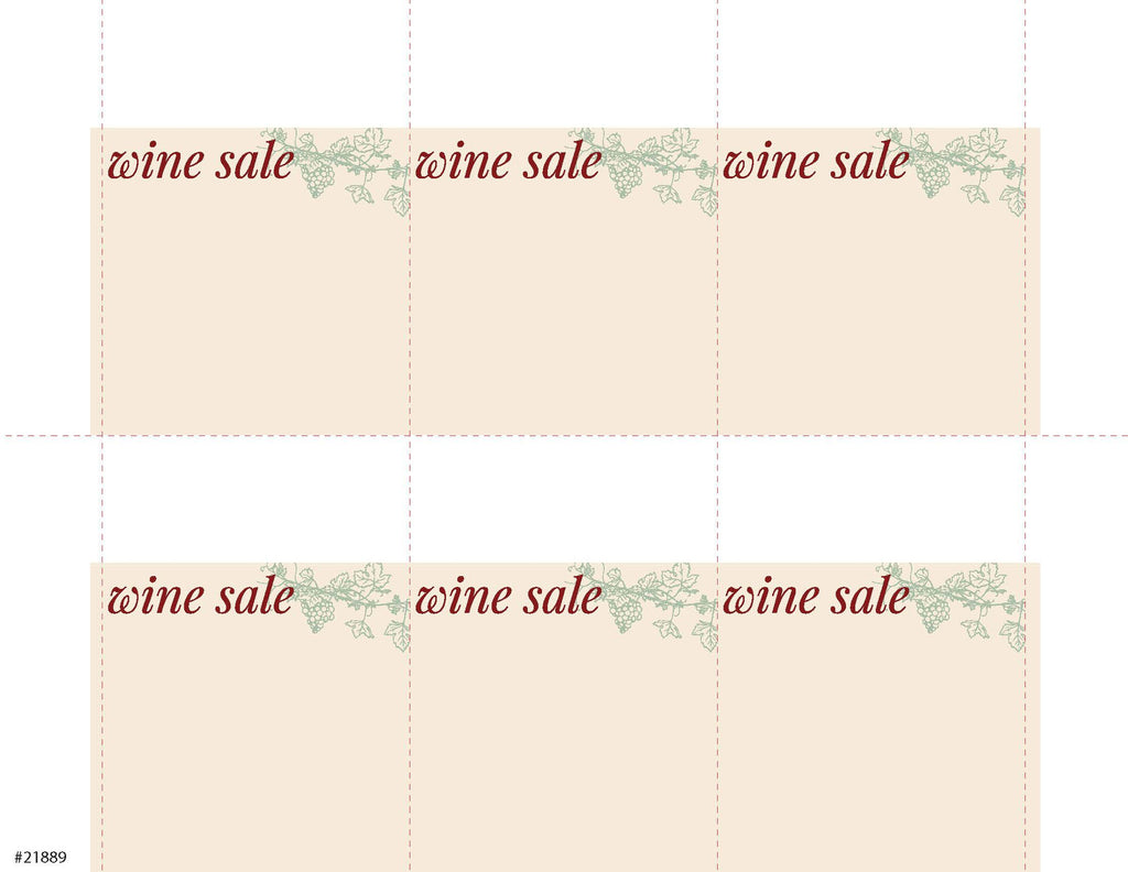 Wine Sale Sign Card 6up - #21889