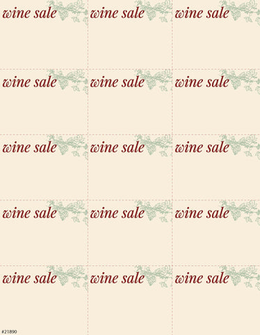 Wine Sale Sign Card 15up - #21890