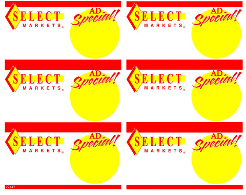Select Ad Special 6up Shelf Sign - #22447