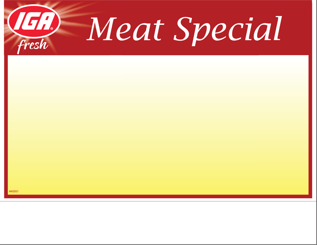 IGA Meat Special Shelf Sign - 1up