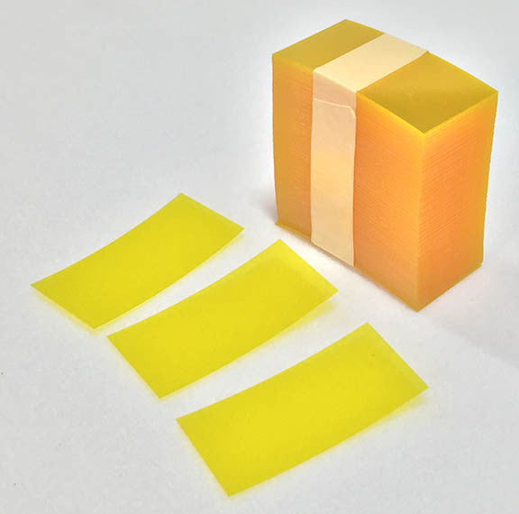 Transparent Yellow PVC Shelf Strips Pkg of 250 - Choose Your Size