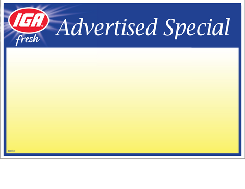 IGA Advertised Special 1up Price Card - 40991