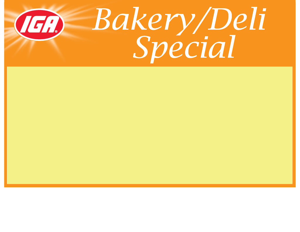 IGA Bakery Deli Special Shelf Sign - 1up