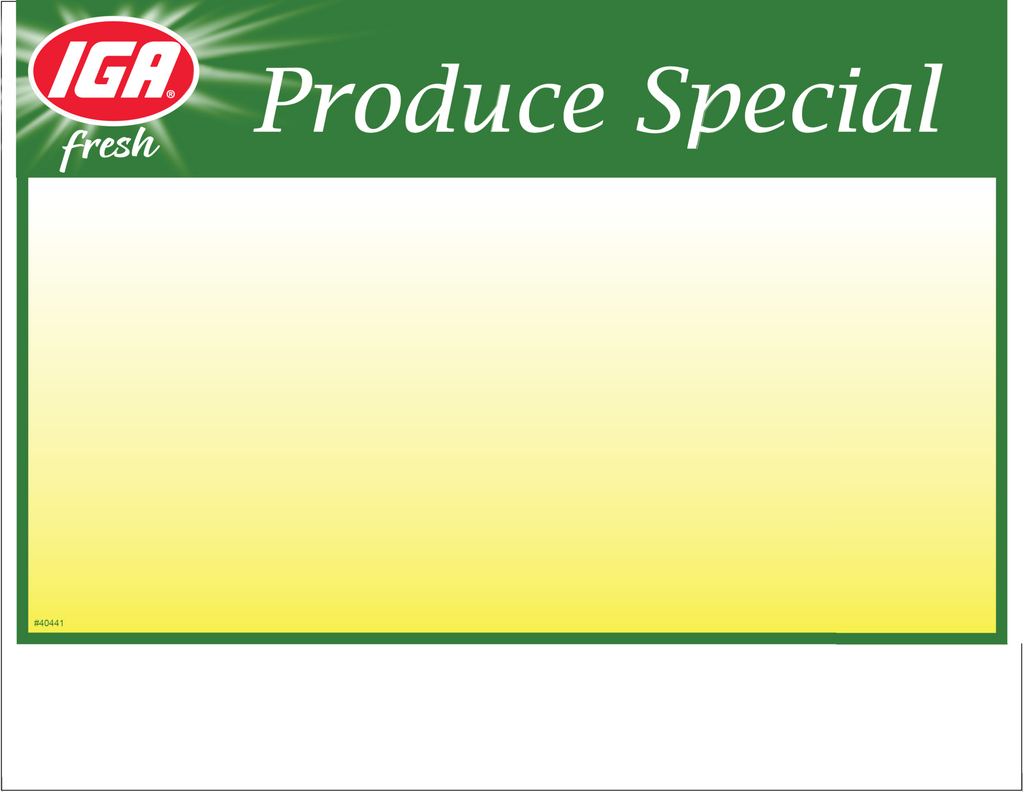 IGA Produce Special 1up Price Card - 40441