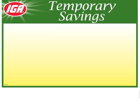 IGA Temporary Savings Shelf Sign - 1up