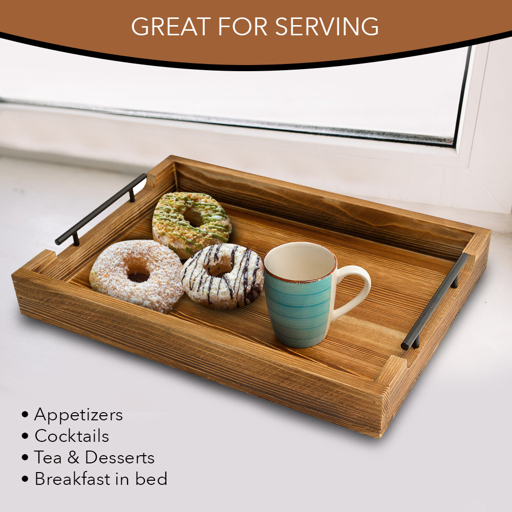 Fantastic Rustic Serving Tray By East World Decorative Tray Torched Wood Tray Food Tray Tea Coffee Tray Serving Trays For Parties Wooden Serving Trays Spiritservingveterans Wood Chair Design Ideas Spiritservingveteransorg