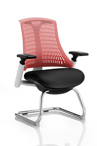 Dynamic Flex Visitor Cantilever Fabric Seat Chair With Back And Arms BlackGrey