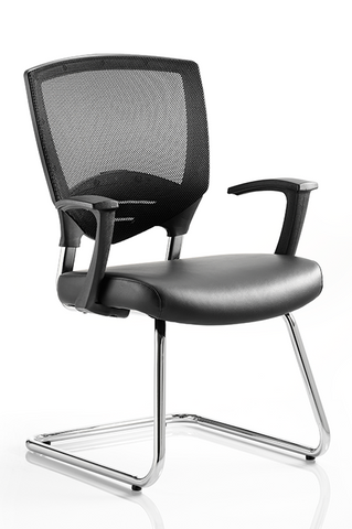 Alpha Cantilever Black Air-Mesh/Leather Chair With Arms - Office Chairs 2 Go - 1