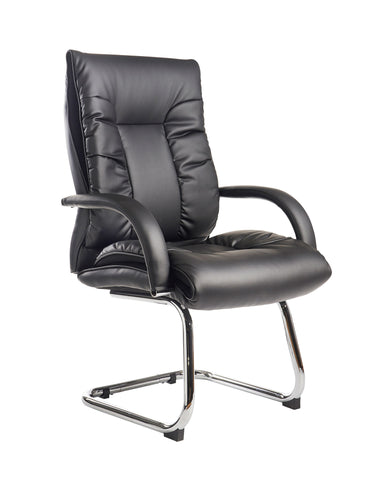 Derby High Back Visitor Chair | Black Faux Leather