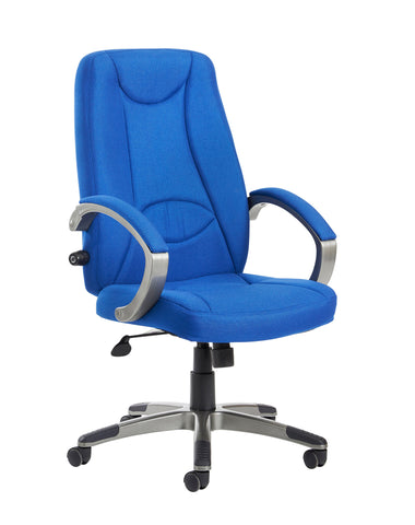 Lucca High Back Fabric Managers Chair | Blue or Charcoal