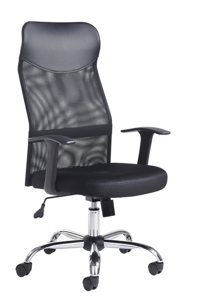 Aurora High Back Mesh Chair with Headrest | Chrome Base, Fixed Arms, Black Mesh with Upholstered Seat