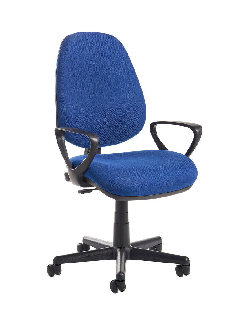 High Back Operator Chair with Lumbar and Fixed Arms | Blue or Charcoal