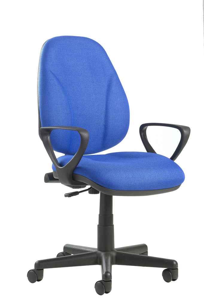 High Back Operator Chair with Lumbar and Fixed Arms | Blue, Burgundy, Black and Green