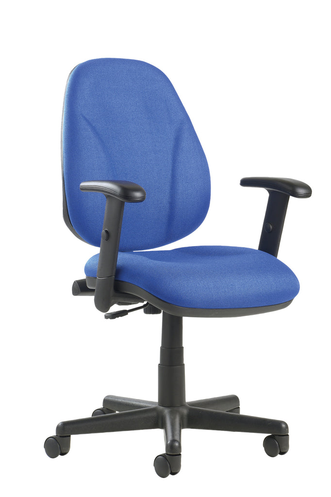 High Back Operator Chair with Lumbar and Adjustable Arms | Blue, Burgundy, Black and Green