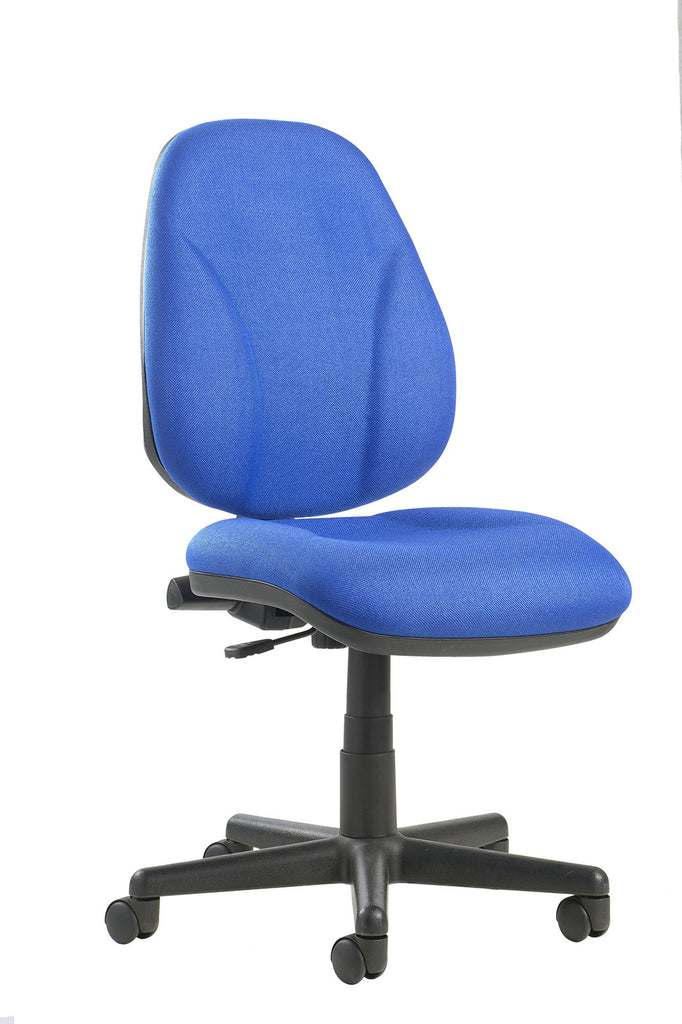 High Back Operator Chair with Lumbar | No Arms | Blue, Burgundy, Black and Green
