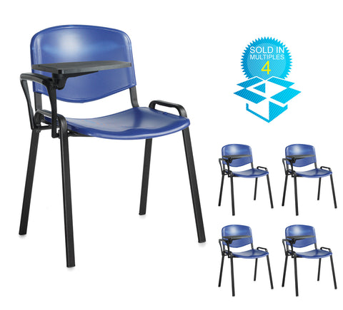Taurus Plastic with Writing Tablet | Black or Blue | Box of 4 Chairs