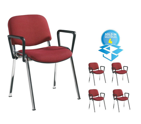 Taurus Fabric Chrome Frame With Arms | Variety of Colours | Box of 4 Chairs