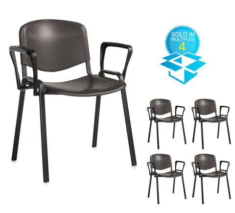Taurus Plastic With Arms | Black or Blue | Box of 4 Chairs