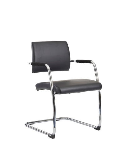 Bruges Black | Leather Cantilever Chair | Box of 2
