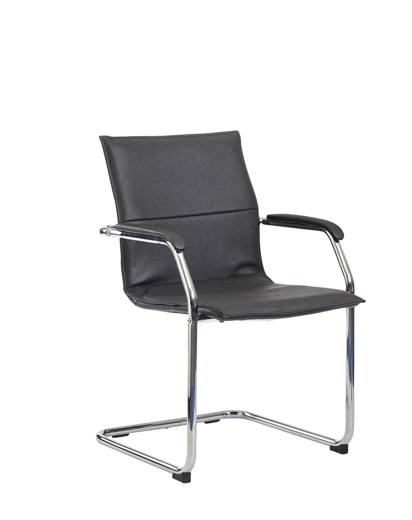 Essen Meeting Room Cantilever Chair | Black Faux Leather