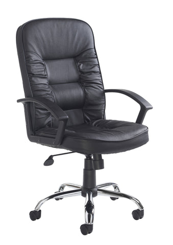 Hertford High Back Managers Chair | Black Leather Face