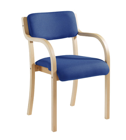 Prague Wooden Conference Chair | Blue or Charcoal | Choice of Arms