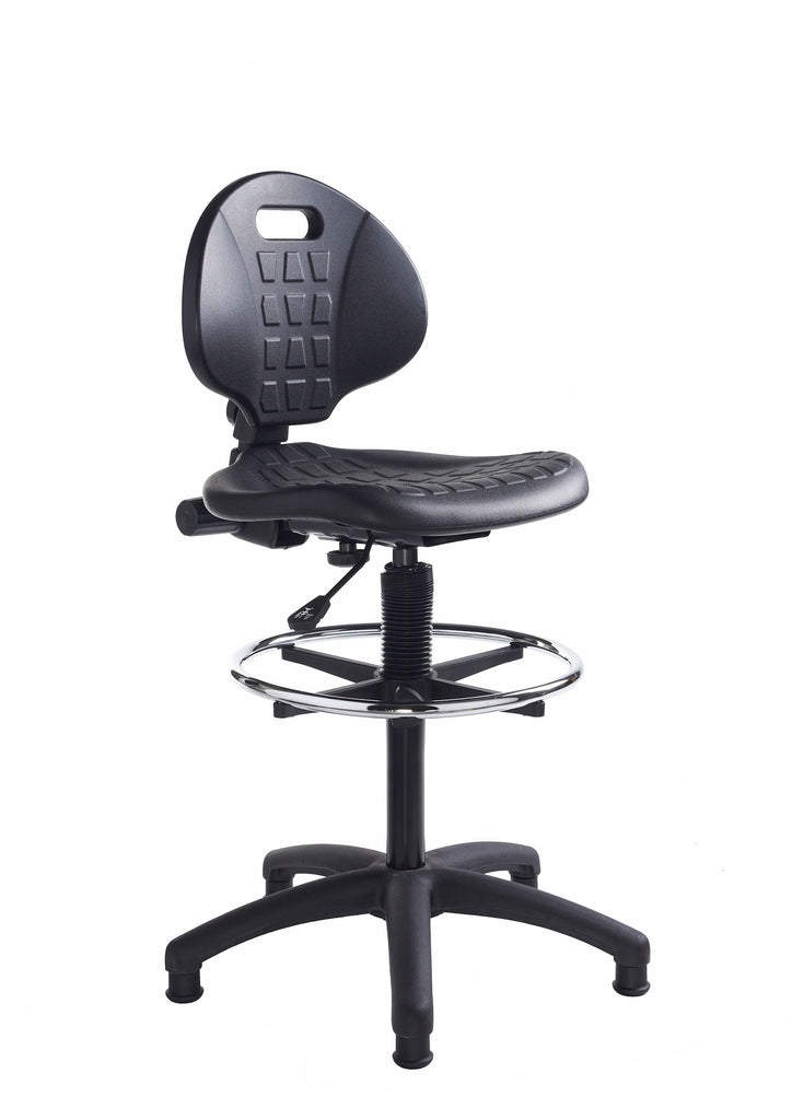 Prema 300 Polyurethan Industrial Operator Chair | Contoured Back Support | Black