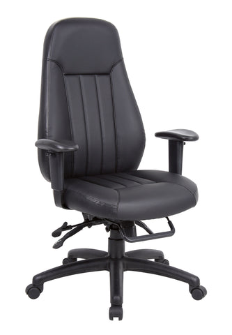 Zeus High Back 24hr Task Chair | Black Faux Leather