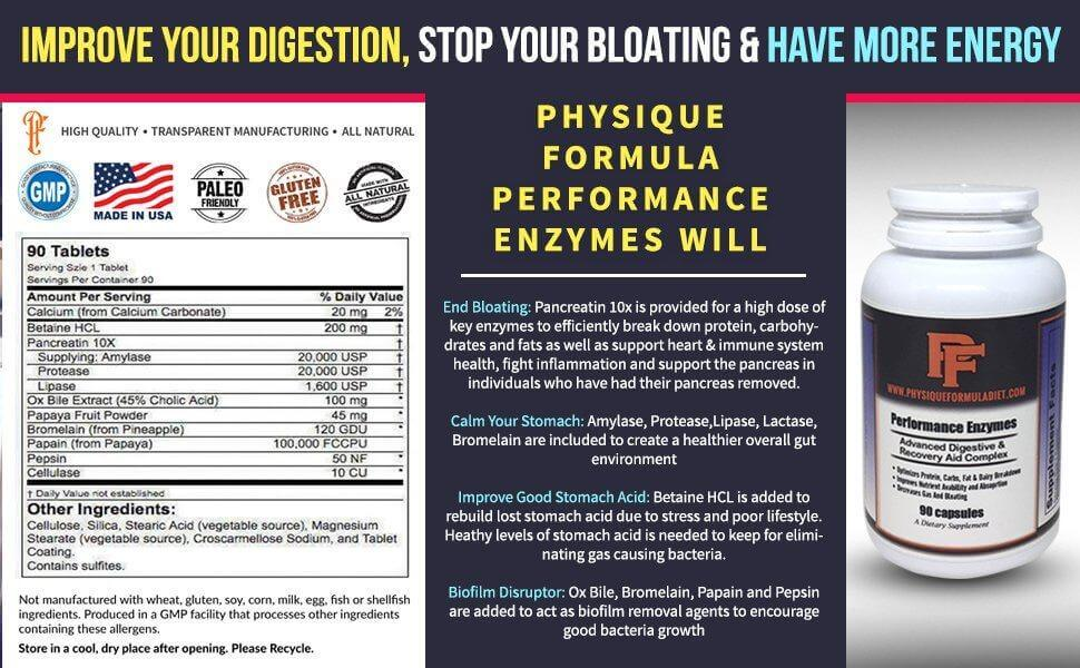 Digestive Enzymes with Betaine HCL, Pancreatin 10x, Ox Bile, Pepsin Enzymes For Digestive Health